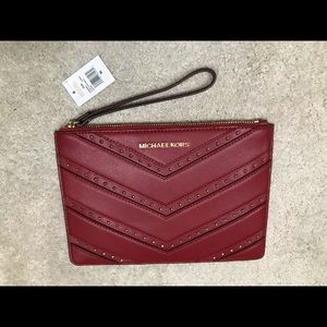 NWT Michael Kors Red Large Wristlet